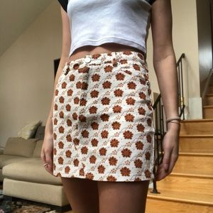 White denim skirt with floral Art Deco pattern